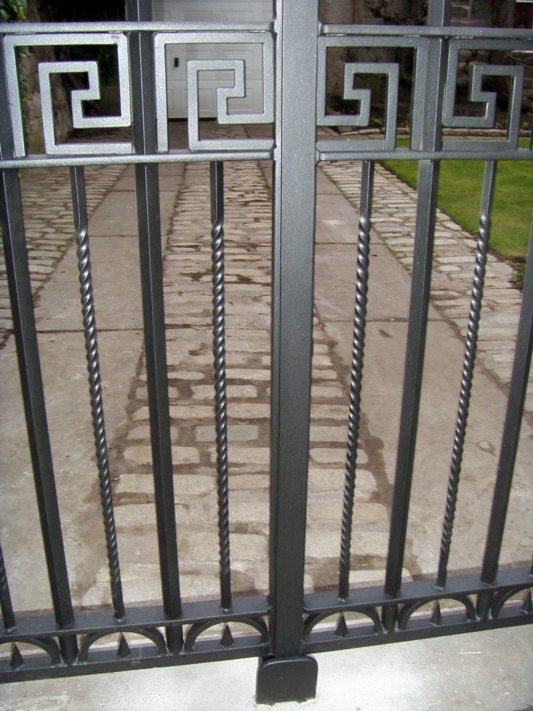 Greek key gates detail