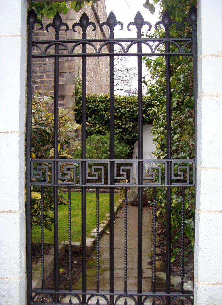 Greek key pedestrian gate