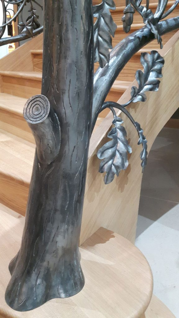 Woodland stair newel post detail